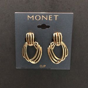 Monet gold tone clip earrings
